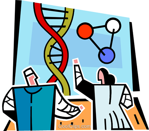 scientists looking at a DNA strand Royalty Free Vector Clip Art illustration vc064972