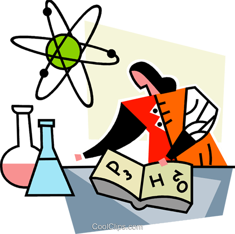 Scientist doing research Royalty Free Vector Clip Art illustration vc064975