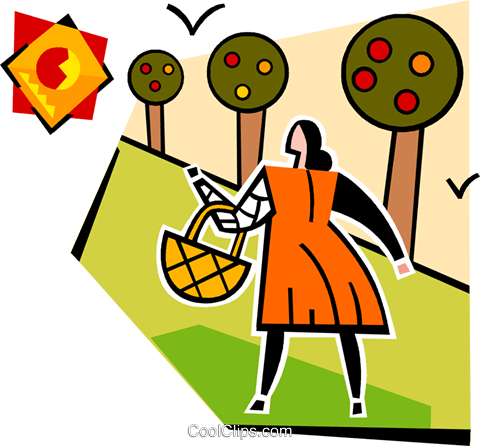 woman with a basket and apple trees Royalty Free Vector Clip Art illustration vc064976