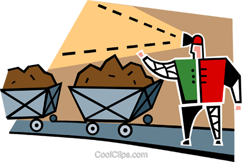 miner with coal cars Royalty Free Vector Clip Art illustration vc064980