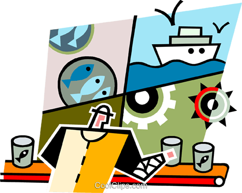 Man working in a cannery Royalty Free Vector Clip Art illustration vc064983