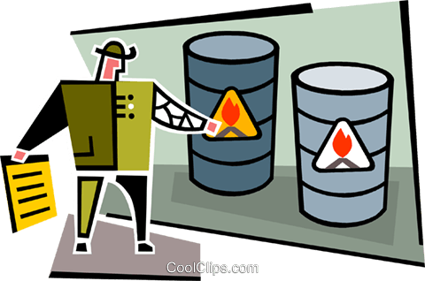 flammable barrels Royalty Free Vector Clip Art illustration vc064985