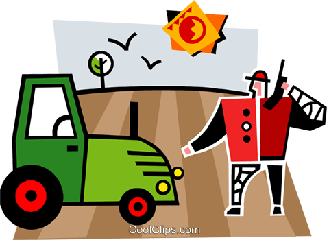 Tractor and a farmer in a field Royalty Free Vector Clip Art illustration vc064986
