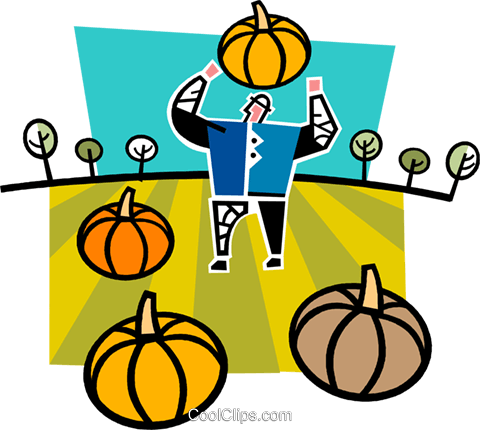 farmer with pumpkins Royalty Free Vector Clip Art illustration vc064987