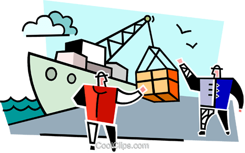men unloading a ship Royalty Free Vector Clip Art illustration vc064994