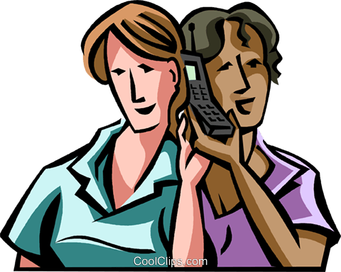 listening on a single cell phone Royalty Free Vector Clip Art illustration vc065000