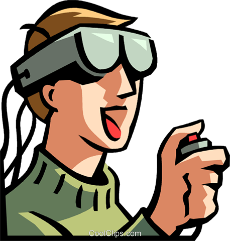 boy wearing a virtual reality headset Royalty Free Vector Clip Art illustration vc065004