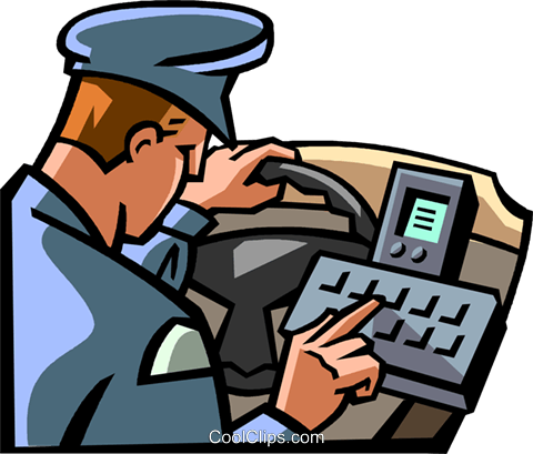 police officer checking his computer Royalty Free Vector Clip Art illustration vc065006