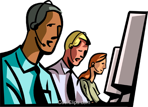 staff talking on headsets Royalty Free Vector Clip Art illustration vc065016