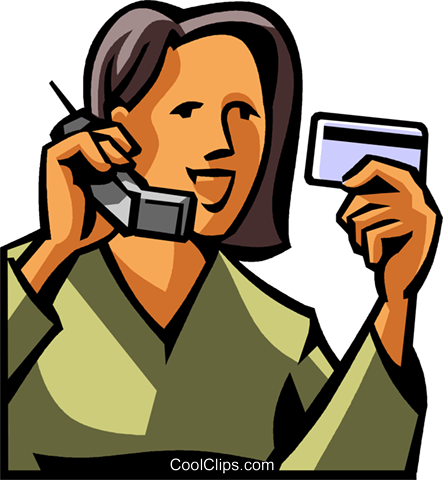 woman giving her credit card information Royalty Free Vector Clip Art illustration vc065017