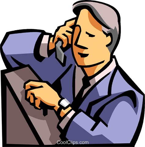 man talking on a cell phone Royalty Free Vector Clip Art illustration vc065018