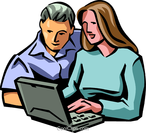 man and woman working on computer Royalty Free Vector Clip Art illustration vc065023