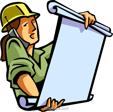 construction worker talking on cell phone Royalty Free Vector Clip Art illustration vc065024