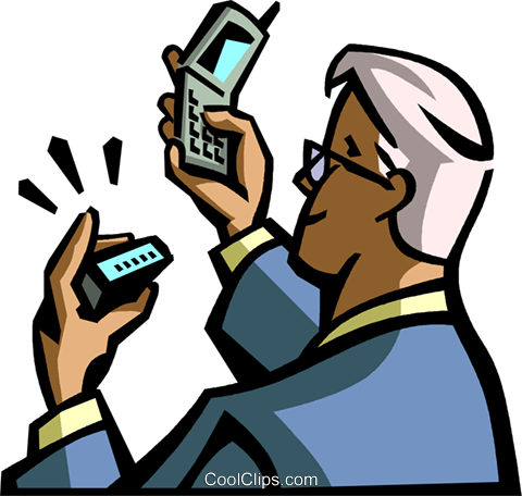 man with pager making Royalty Free Vector Clip Art illustration vc065028