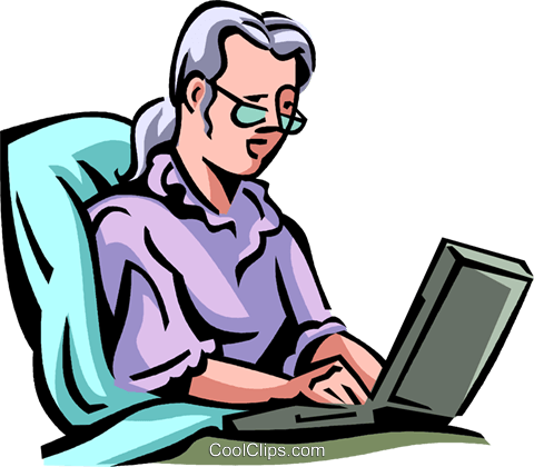 woman lying in bed working on computer Royalty Free Vector Clip Art illustration vc065030