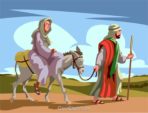 Mary and Joseph going to Bethlehem Royalty Free Vector Clip Art illustration vc065035