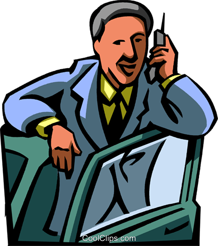 businessman talking on the cell phone Royalty Free Vector Clip Art illustration vc065049