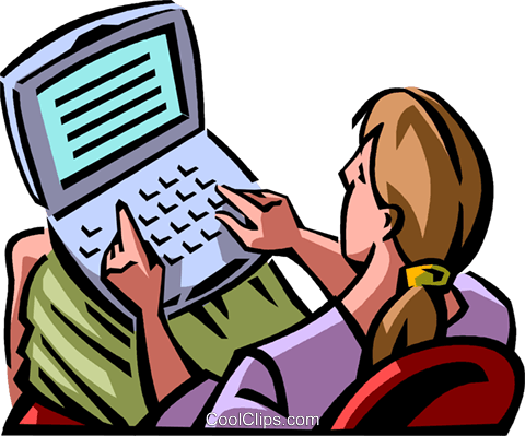 woman working on her laptop Royalty Free Vector Clip Art illustration vc065050