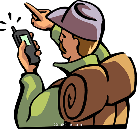hiker looking at his GPS for directions Royalty Free Vector Clip Art illustration vc065056