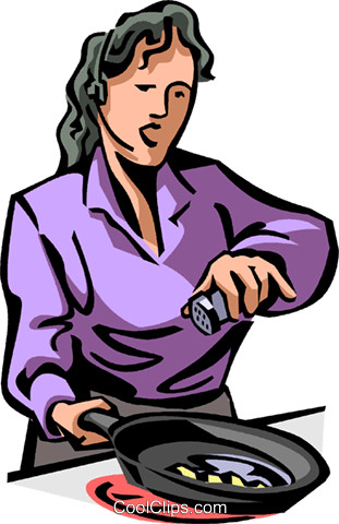 talking on a headset while cooking Royalty Free Vector Clip Art illustration vc065060