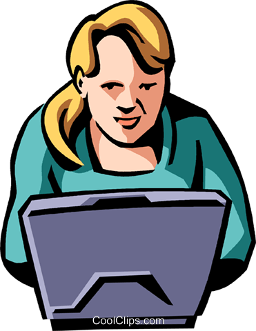 woman working on a laptop Royalty Free Vector Clip Art illustration vc065061