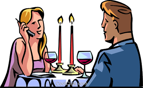 dinner interrupted by cellular phone call Royalty Free Vector Clip Art illustration vc065066
