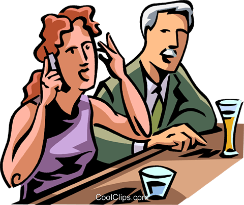 woman takes a cellular phone call Royalty Free Vector Clip Art illustration vc065067