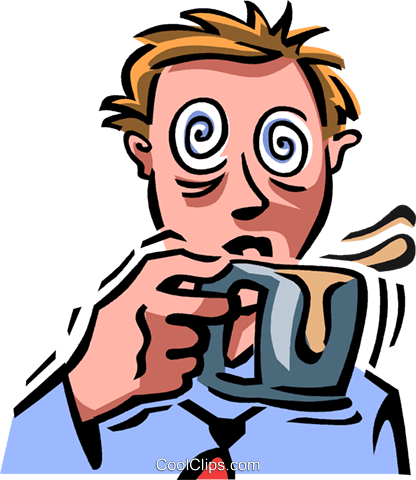 businessman having to much caffeine Royalty Free Vector Clip Art illustration vc065078