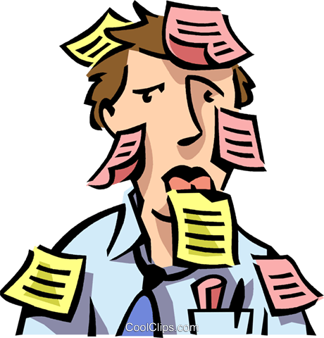 man with post-it notes all over him Royalty Free Vector Clip Art illustration vc065080