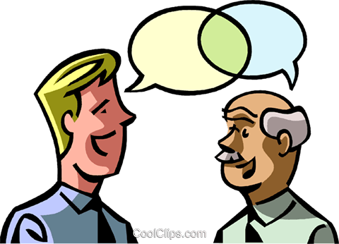 two businessmen talking Royalty Free Vector Clip Art illustration vc065082