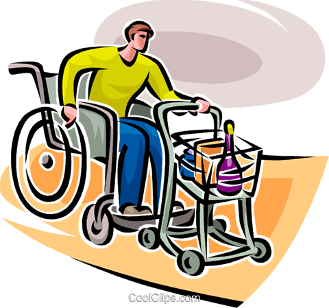 man in a wheelchair Royalty Free Vector Clip Art illustration vc065122