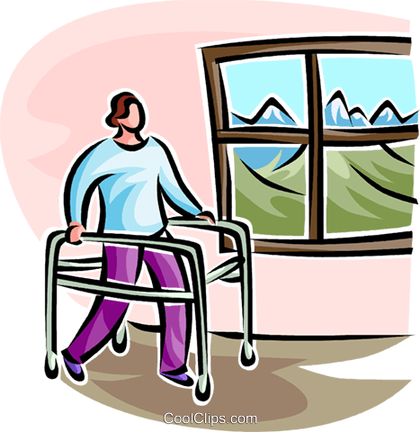 woman walking in a walker Royalty Free Vector Clip Art illustration vc065126