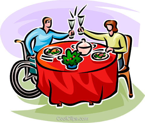 proposing a toast over dinner Royalty Free Vector Clip Art illustration vc065131