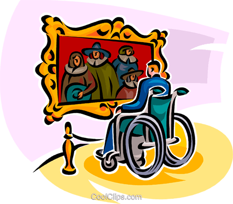 visiting the art gallery Royalty Free Vector Clip Art illustration vc065132