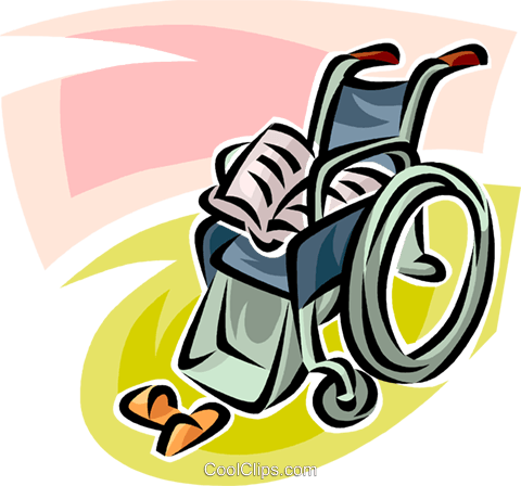 wheelchair, newspaper and slippers Royalty Free Vector Clip Art illustration vc065133