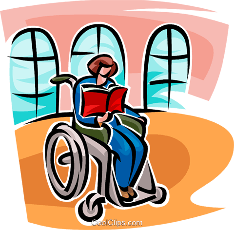 woman in a wheelchair reading a book Royalty Free Vector Clip Art illustration vc065134