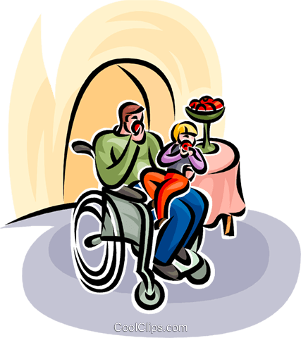 father in wheelchair eating apple Royalty Free Vector Clip Art illustration vc065137