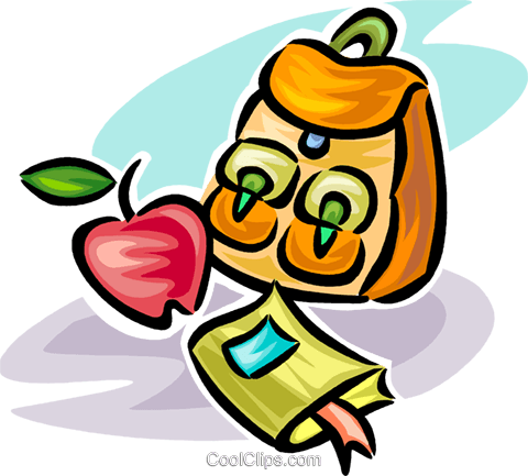 school knapsack and apple Royalty Free Vector Clip Art illustration vc065142