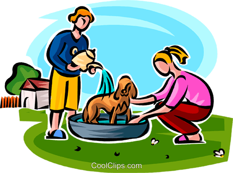 kids washing the puppy Royalty Free Vector Clip Art illustration vc065149