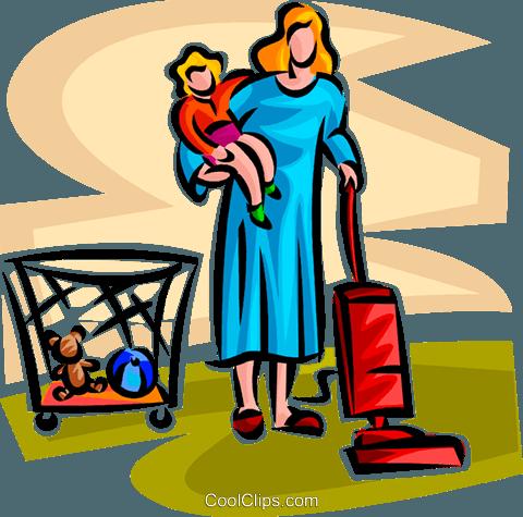 Hausarbeit Und Die Betreuung Von Kindern Vektor Clipart Bild