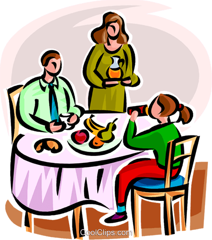 family having dinner Royalty Free Vector Clip Art illustration vc065151