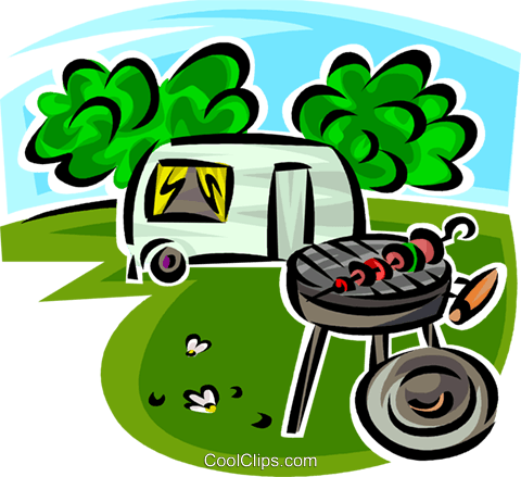 Barbecue And Camping Trailer Royalty Free Vector Clip Art Illustration