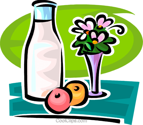 jar of milk flowers and fruit Royalty Free Vector Clip Art illustration vc065158