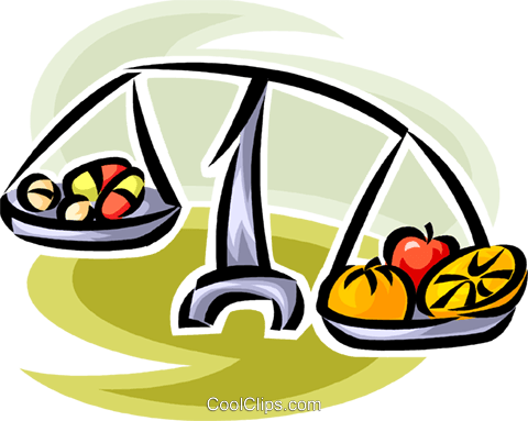 fruit and vegetables on a scale Royalty Free Vector Clip Art illustration vc065162