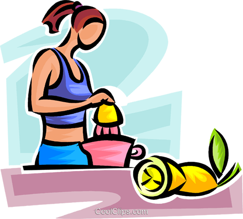 woman making freshly squeezed lemonade Royalty Free Vector Clip Art illustration vc065167