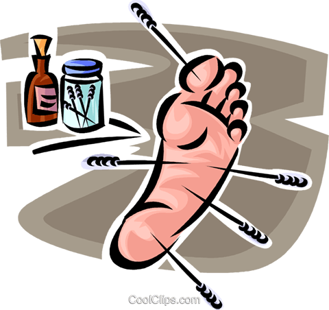 foot with acupuncture needles in it Royalty Free Vector Clip Art illustration vc065168