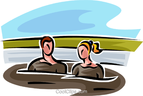 man and a woman in a mud bath Royalty Free Vector Clip Art illustration vc065173