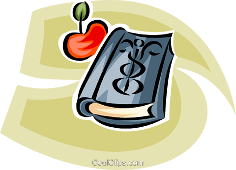 doctor's book and an apple Royalty Free Vector Clip Art illustration vc065183