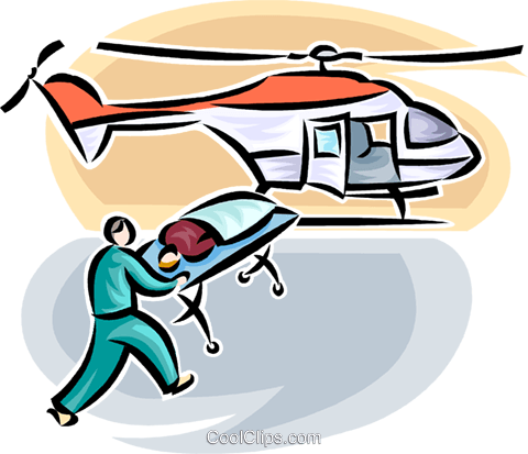 person loaded onto air ambulance Royalty Free Vector Clip Art illustration vc065195