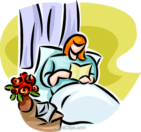 Woman reading a card in her hospital bed Royalty Free Vector Clip Art illustration vc065205